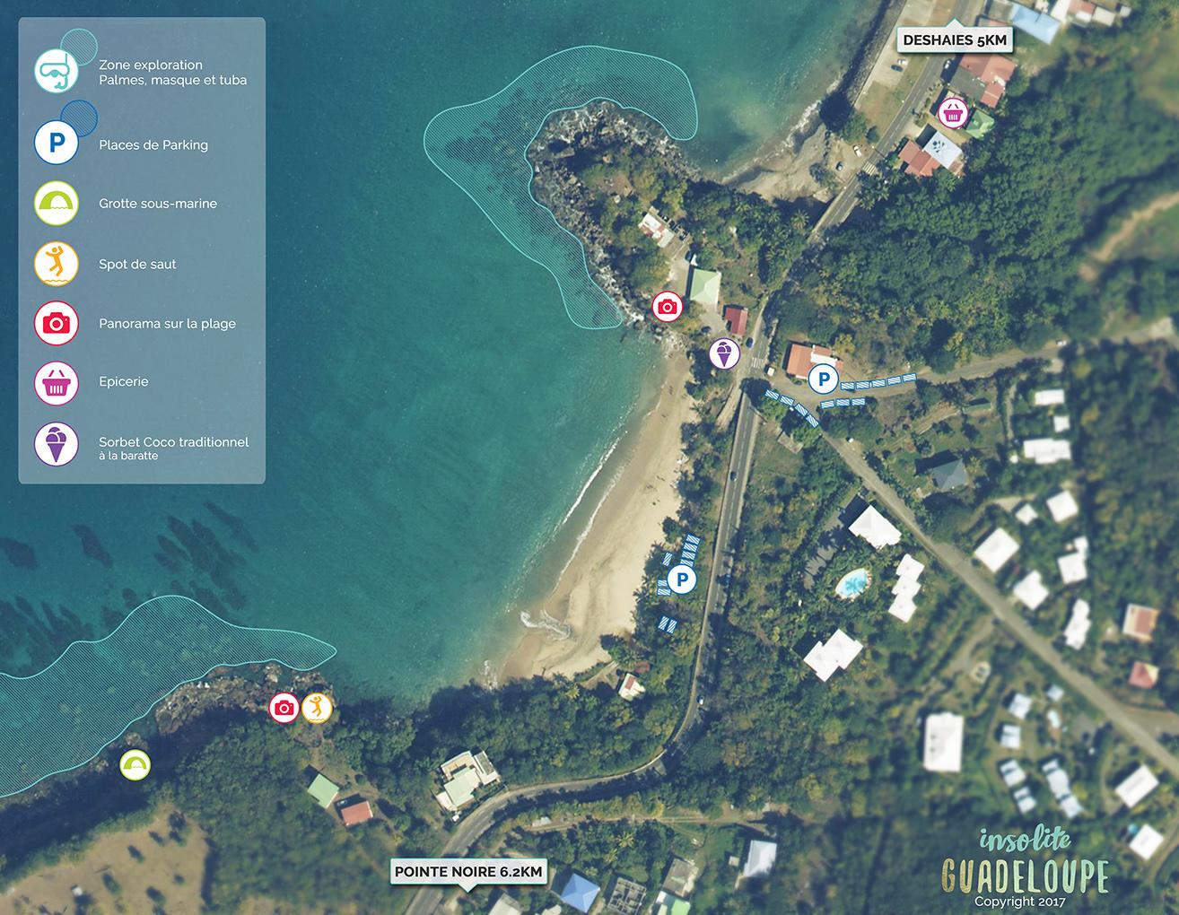 Carte Plage de Leroux Infos pratiques, acces, parking Deshaies, Ferry, Insolite Guadeloupe